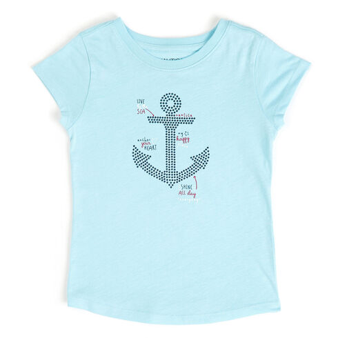 Little Girls' Ruffle Sleeve Anchor Tee (4-6X) - Dream Blue