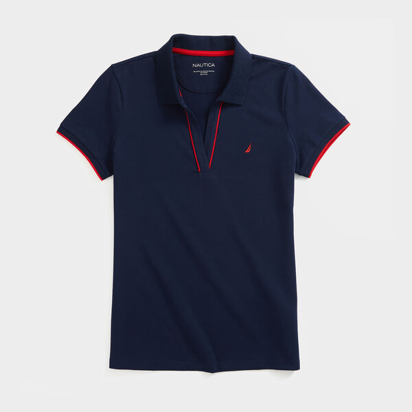 SUSTAINABLY CRAFTED SIDE STRIPE SPLIT-NECK POLO - Stellar Blue Heather