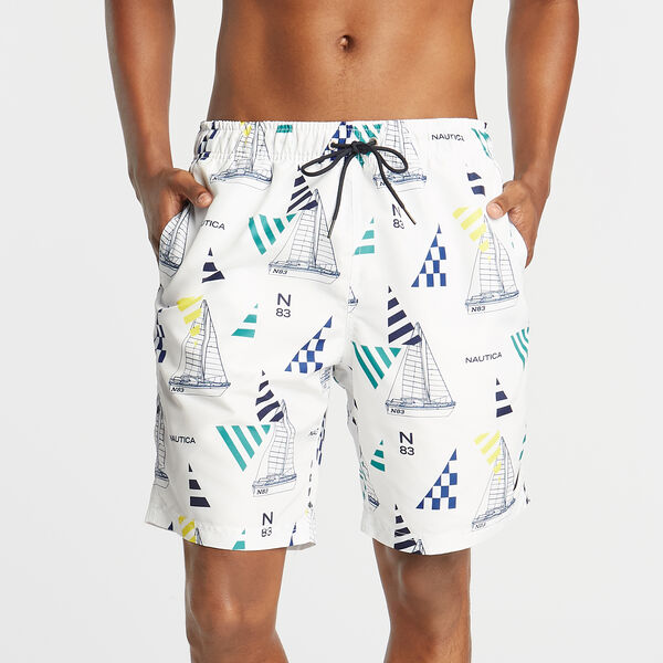 "8"" GEO SAILING PRINT SWIM TRUNK - Bright White"