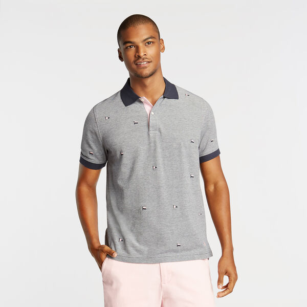 CLASSIC FIT OXFORD MESH POLO IN EMROIDERED FLAG ICON - Pure Dark Pacific Wash