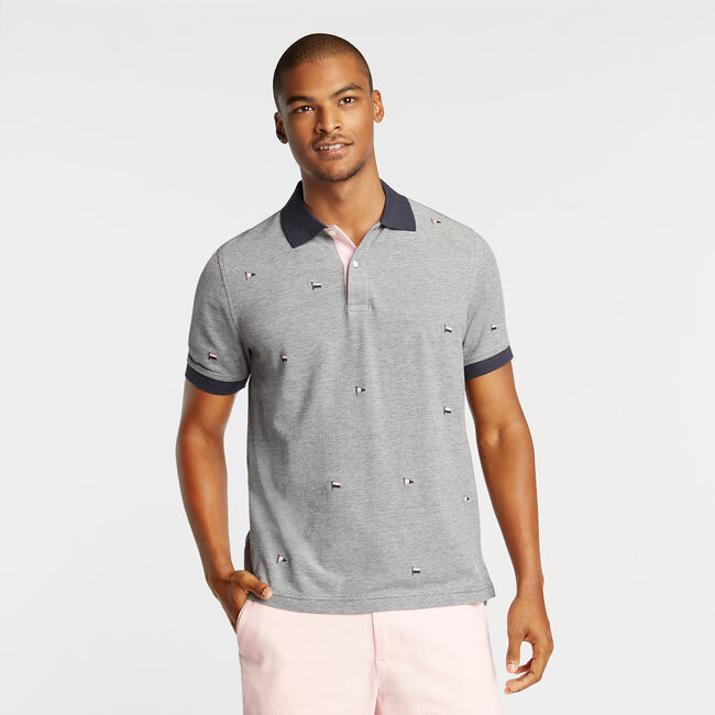 CLASSIC FIT OXFORD MESH POLO IN EMROIDERED FLAG ICON,Navy,large
