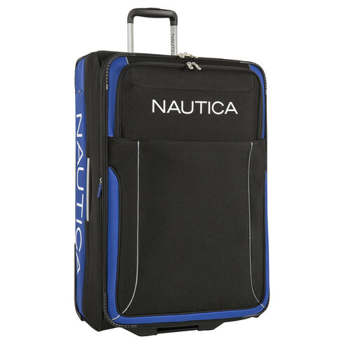 "Point of Sail 25"" Expandable Luggage in Black/Cobalt - True Black"