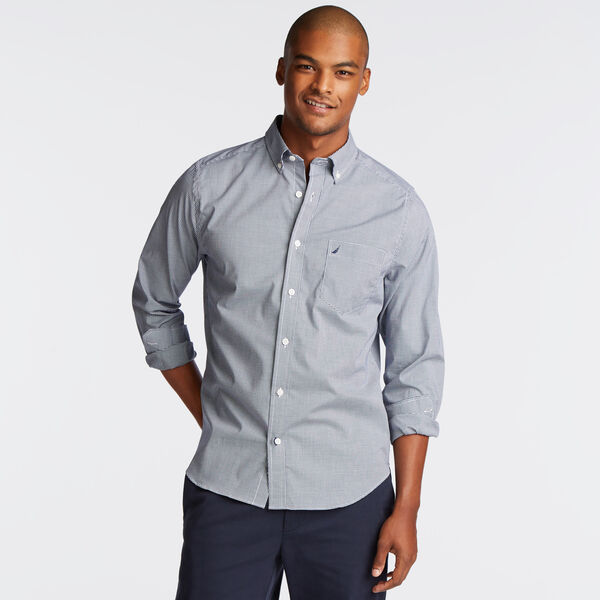 Classic Fit Poplin Shirt in Micro Gingham - Monaco Blue