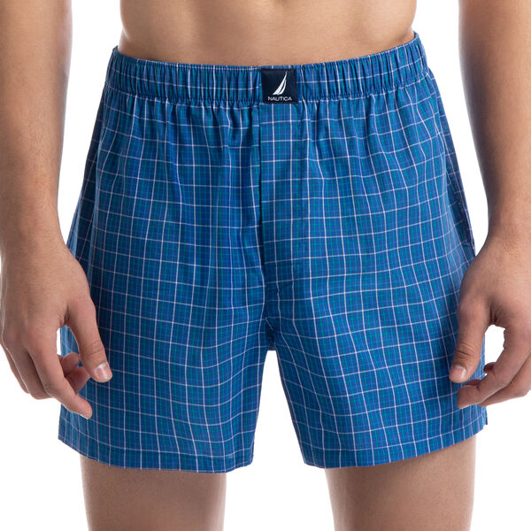 Plaid Woven Boxers - Blue Stern