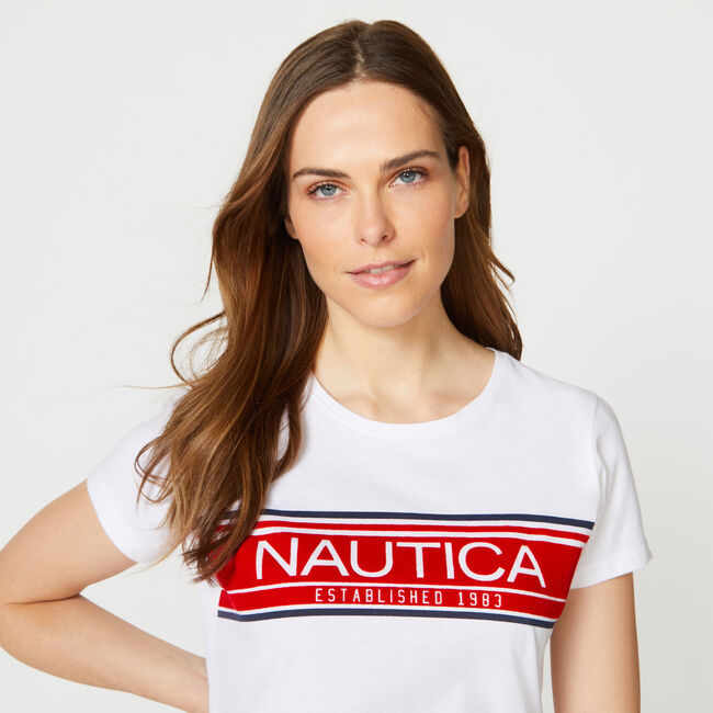 NAUTICA LOGO TEE,Bright White,large