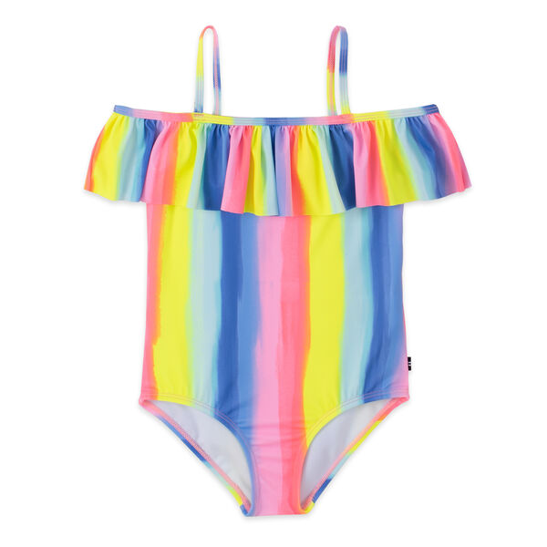 TODDLER GIRLS' RUFFLED OMBRE STRIPED ONE-PIECE SWIM (2T-4T) - Biking Red