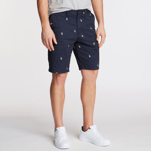 Print Slim Fit Flat Front Shorts - Navy