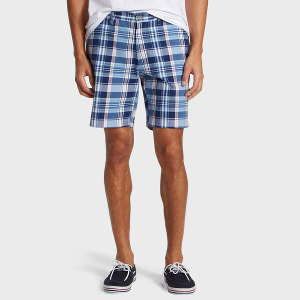 "Big & Tall 8.5"" Deck Short in Madras Plaid - Riviera Blue"
