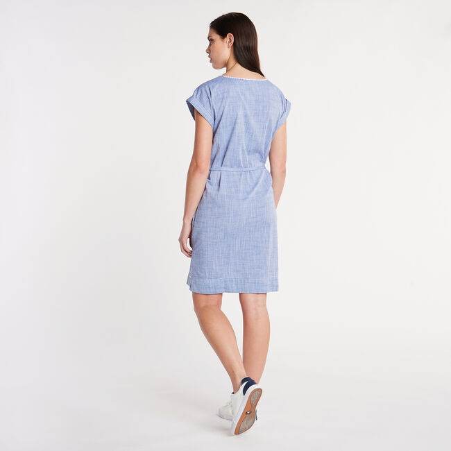 Embroidered Chambray Shift Dress,Deep Navy Heather,large