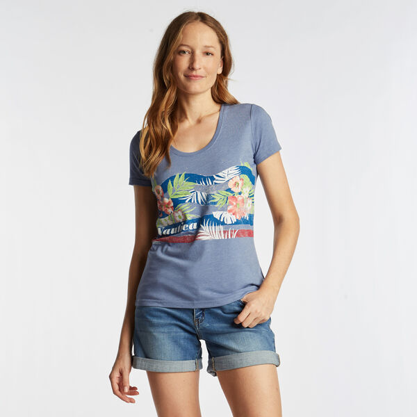 SCOOP NECK T-SHIRT IN FLORAL GRAPHIC - Aquabreeze