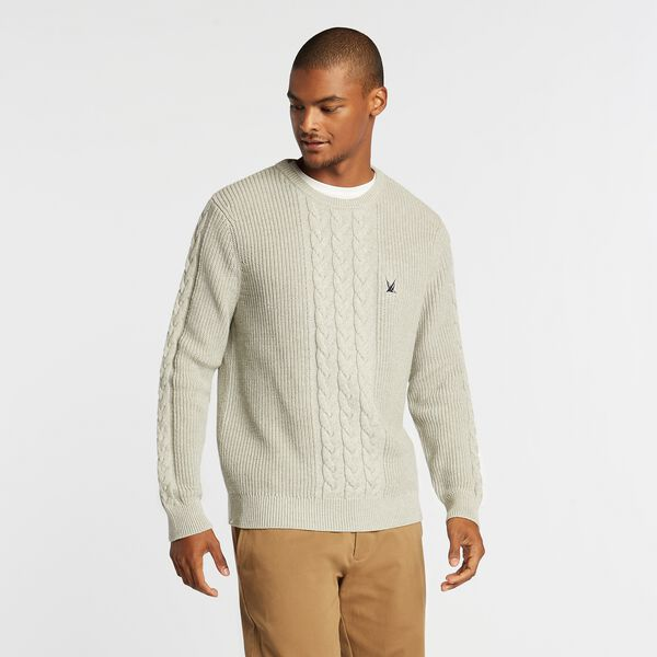 J-CLASS CABLE-KNIT SWEATER - Grey Heather