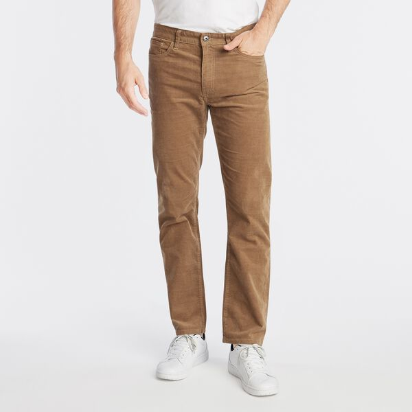 STRAIGHT FIT CORDUROY PANT WITH STRETCH - Oyster Brown