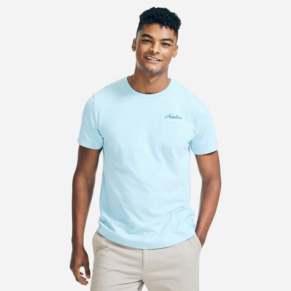 SUSTAINABLY CRAFTED YACHT RACING GRAPHIC T-SHIRT - Cobalt Wave