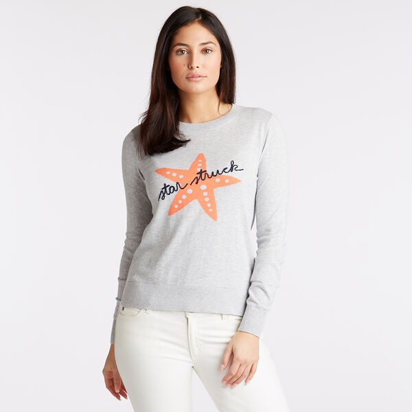 CLASSIC FIT COTTON & MODAL SWEATER IN INTARSIA GRAPHIC - Pale Blue