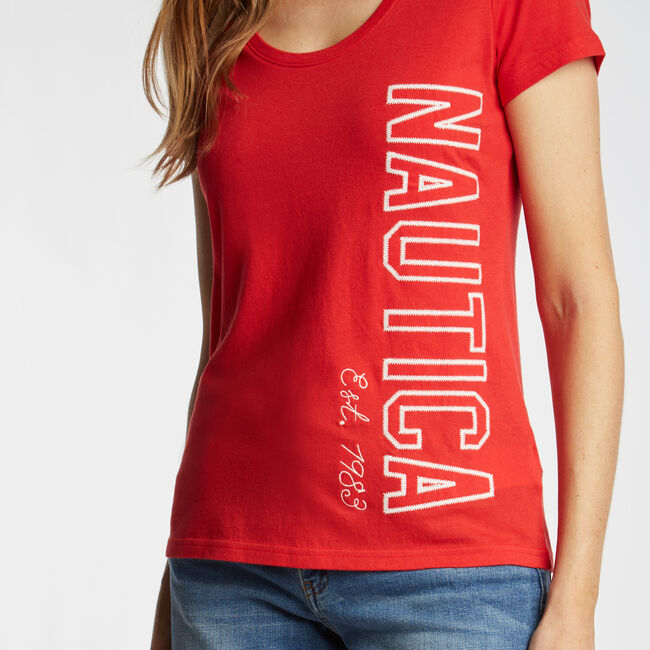 CLASSIC FIT T-SHIRT IN LOGO GRAPHIC,Tomales Red,large