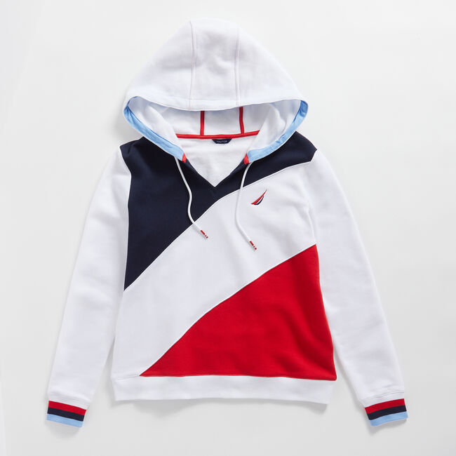 COLORBLOCK SPLIT NECK PULLOVER HOODIE,Bright White,large