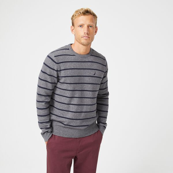 SUSTAINABLY CRAFTED STRIPE J-CLASS SWEATER - Grey Carbon