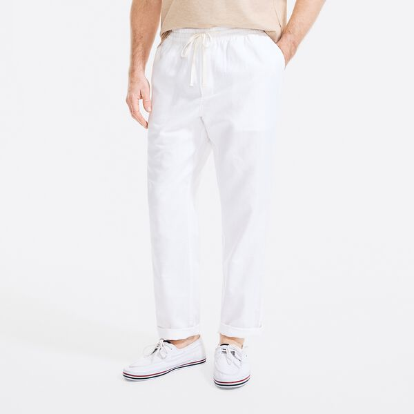 CLASSIC FIT LINEN PULL-ON PANT - Bright White