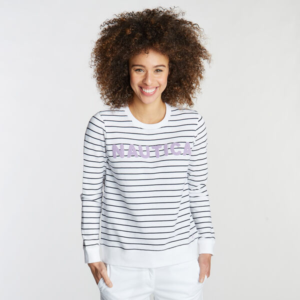 ADRIFT CREWNECK PULLOVER IN STRIPE - Bright White