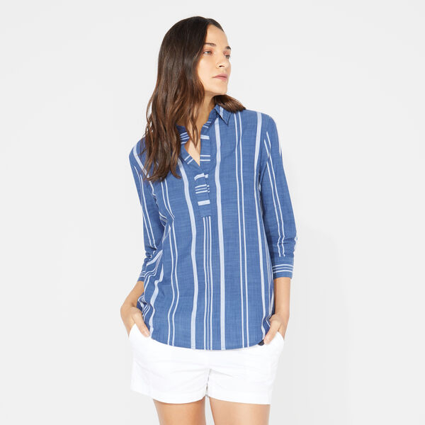 THREE-QUARTER SLEEVE STRIPE POPOVER SHIRT - J Navy