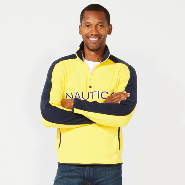 QUARTER ZIP LOGO NAUTEX FLEECE PULLOVER - Lemon Chrome