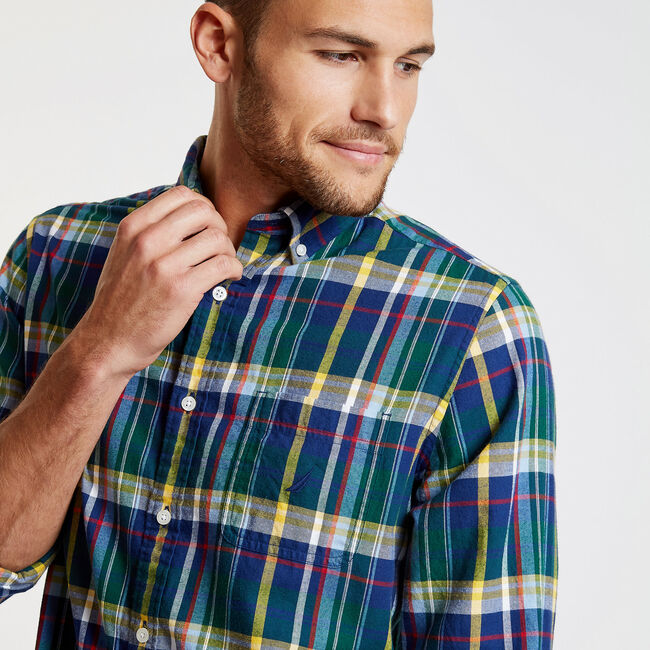 Long Sleeve Classic Fit Brushed Tartan Plaid Shirt,Cosmic Fern,large