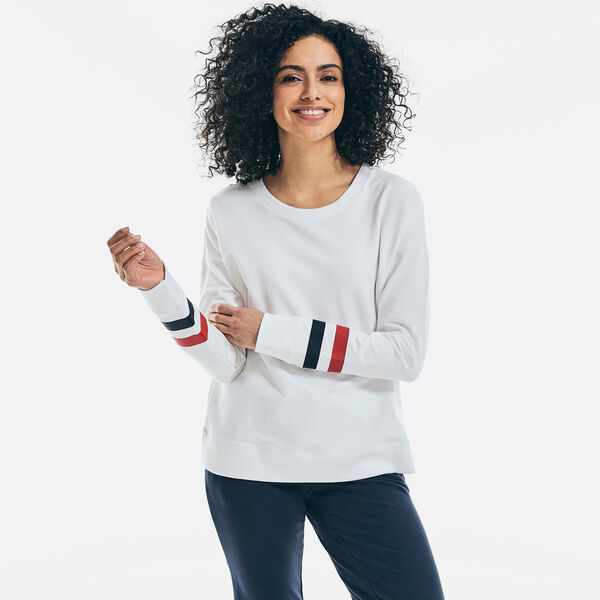 SUSTAINABLY CRAFTED STRIPED SLEEVE SWEATSHIRT - Bright White