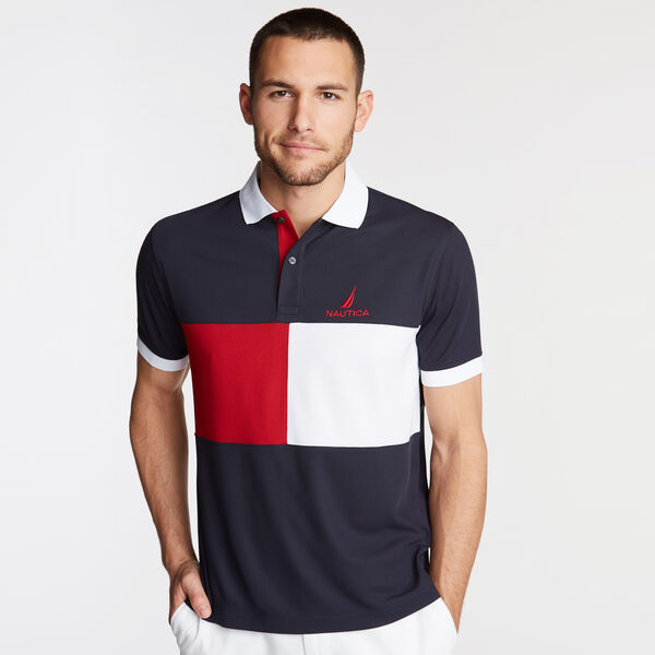 Classic Fit Colorblock Performance Polo - Navy