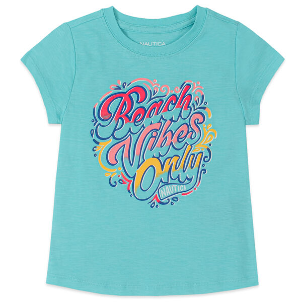 TODDLER GIRLS' BEACH VIBES ONLY FOIL GRAPHIC T-SHIRT (2T-4T) - Mint Spring