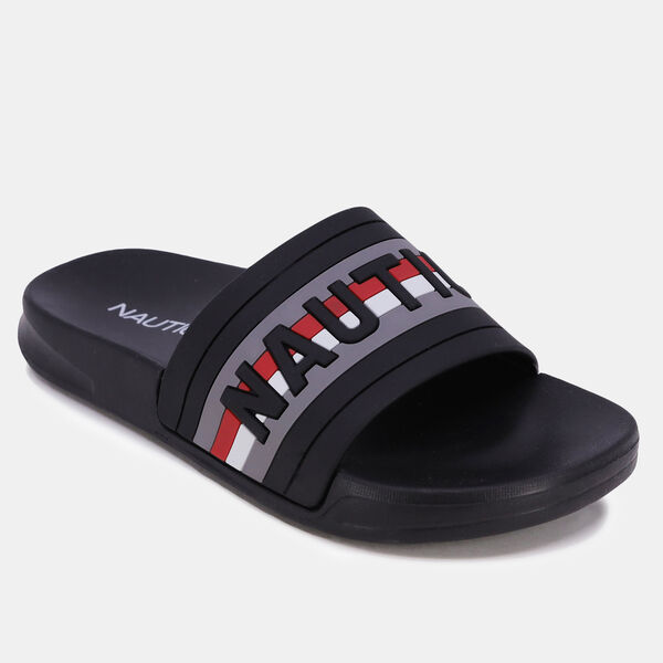 BOYS' STRIPED LOGO SLIDE SANDAL - Dove