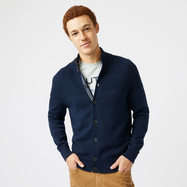 BIG & TALL TEXTURED BUTTON CARDIGAN - Navy