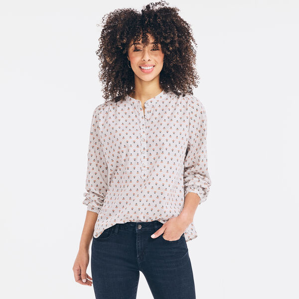 SUSTAINABLY CRAFTED FLORAL PRINT HENLEY TOP - Marshmallow