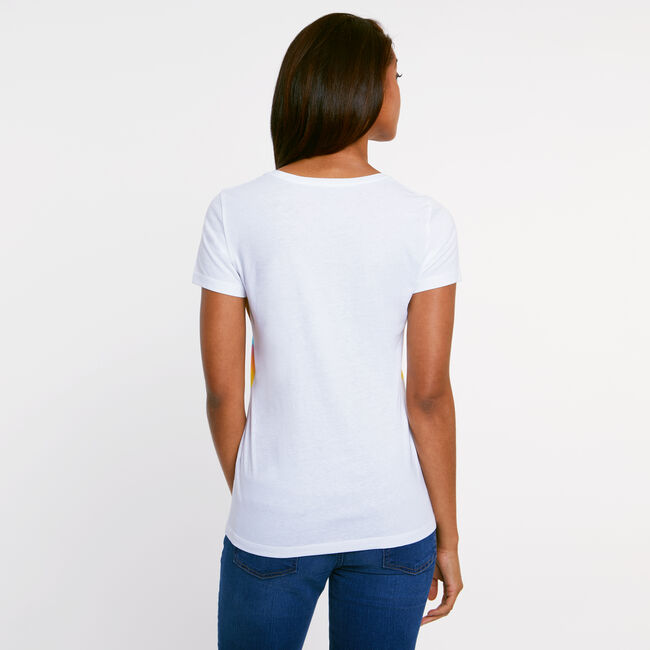 Horizon Border Scoop-Neck Tee,Bright White,large