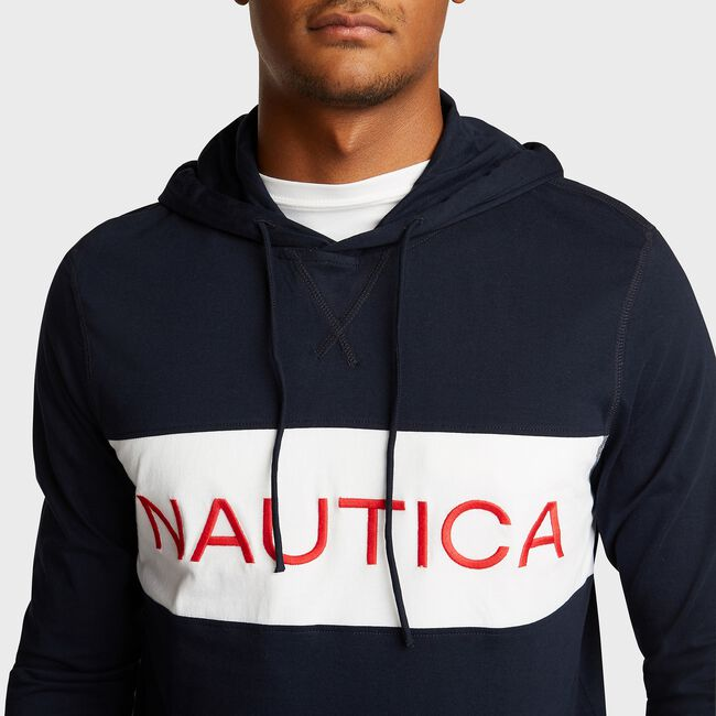 Chest Logo Beach-to-Street Hoodie,Navy,large