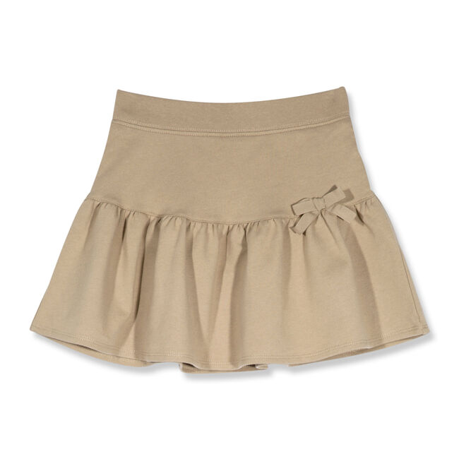 Little Girls' Drop Waist French Terry Skort with Bow (4-6X),Tavern,large