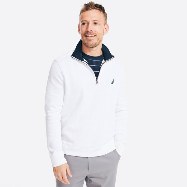 QUARTER-ZIP FRENCH-RIBBED SWEATER - Bright White