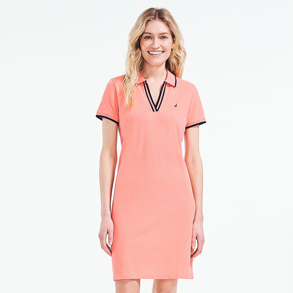 SUSTAINABLY CRAFTED SPLIT-NECK POLO DRESS - Sugar Coral
