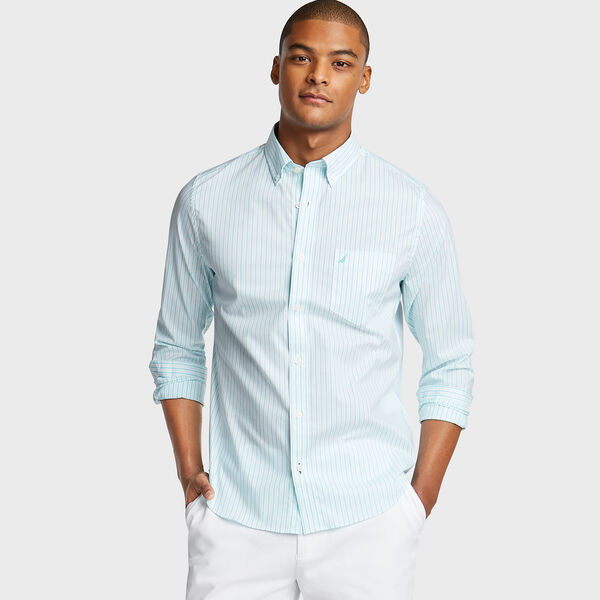 SLIM FIT WRINKLE RESISTANT SHIRT IN STRIPE - Bali Bliss