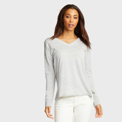 V-Neck Linen Blend Sweater - Pale Blue