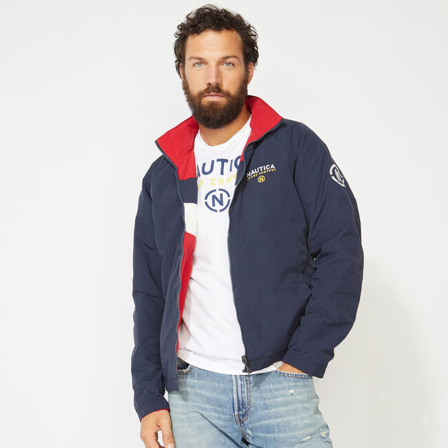NAUTICA JEANS CO. REVERSIBLE BOMBER JACKET,Nautica Red,large