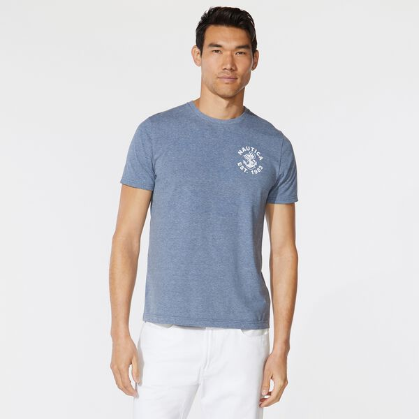 FLAG ANCHOR GRAPHIC T-SHIRT - Anchor Blue Heather