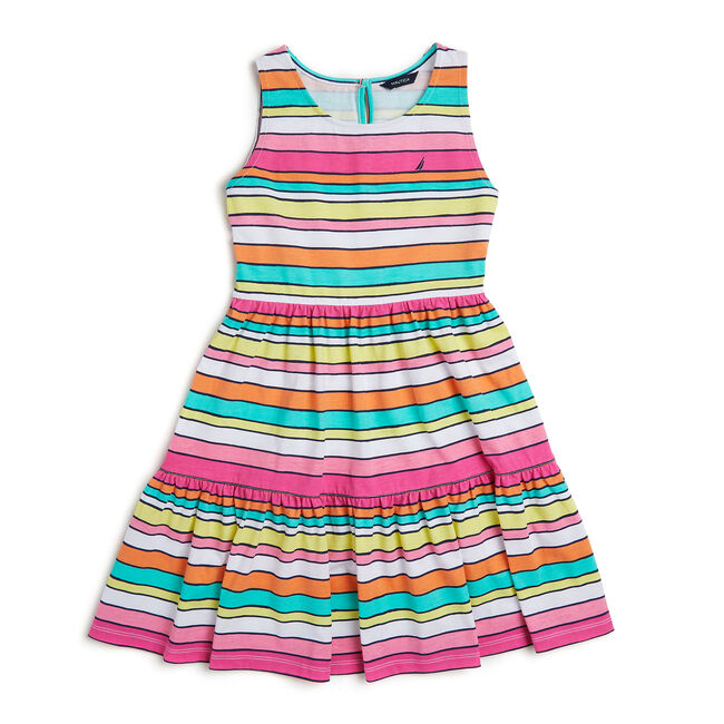 Toddler Girls' Multi-Stripe Tiered Dress (2T-4T),Rockaway Red,large