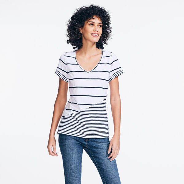 STRIPED V-NECK TOP - Stellar Blue Heather