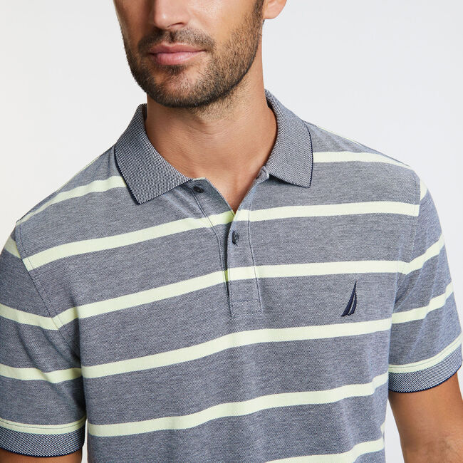 Classic Fit Striped Mesh Polo,Navy,large