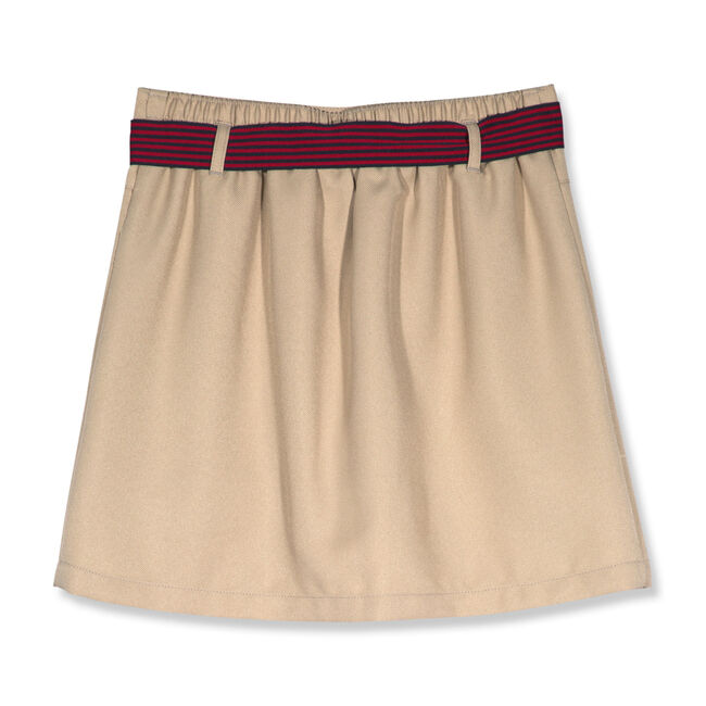 Girls' Pleated Skort with Striped Bow (7-16),Tavern,large