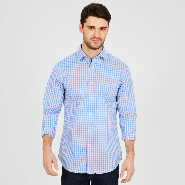 Long Sleeve Classic Fit Iron-Free Check Shirt,Blue Grass,large