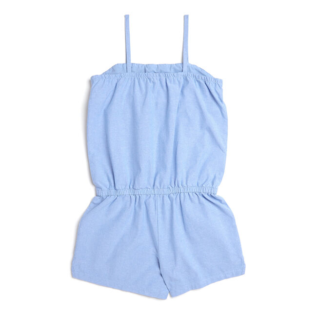 Girls' Chambray Romper With Decorative Smocking (7-16),Bright Cobalt,large