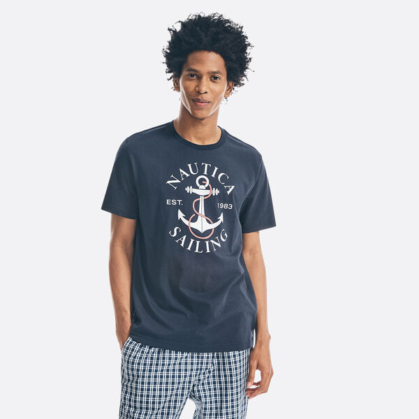 SAILING ANCHOR GRAPHIC SLEEP T-SHIRT - Navy