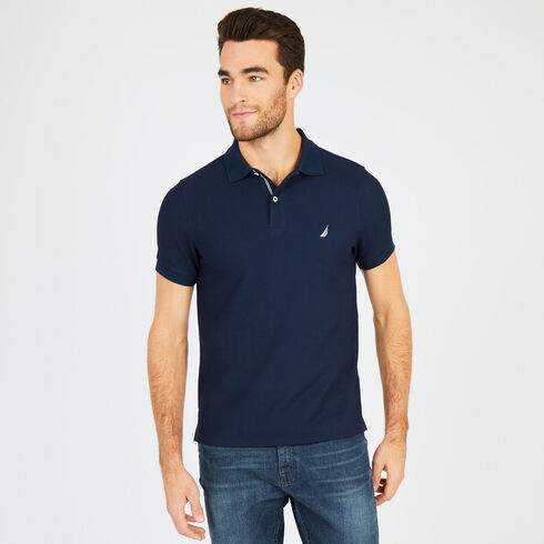 Short Sleeve Slim Fit Performance Deck Polo - Navy ca19a92ada