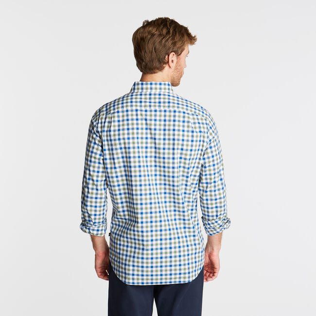 CLASSIC FIT POPLIN SHIRT IN TWO TONE GINGHAM,Olive Vine,large